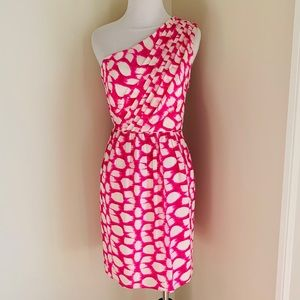 Shoshanna silk pink & cream one shoulder dress